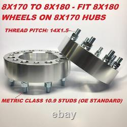 2pc 2 Wheel Adapters 8x170 to 8x180 14x1.5 Stud Fits F250 F350 Superduty Spacer