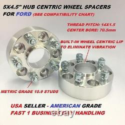 2pcs 2 Hubcentric 5x4.5 Wheel Spacers Fits Ford Mustang 2015+ 14x1.5 Studs
