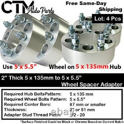 4PC 1.5 THICK 5x135mm to 5x5.5 WHEEL ADAPTER SPACER FIT 14x2 STUD FORD LINCOLN