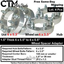 4PC 1.5 THICK 6x5.5 to 6x5.5 108mm CB WHEEL ADAPTER SPACER FIT M12x1.5 STUD CAR