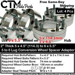 4PC 2 THICK 5x4.5 5x115 to 6x5.5 CONVERTION WHEEL ADAPTER FIT 1/2 STUD FORD