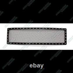 Fits 2007-2014 Ford Expedition Upper Stainless Black Mesh Rivet Studs Grille