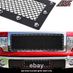 Fits 2009-2014 Ford F-150 Lower Bumper Stainless Black Mesh Rivet Studs Grille