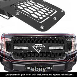 Fits 2018-2020 Ford F-150 Upper Stainless Black Grille Insert With Rivet Studs