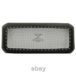 Mesh Grille With Rivets Fits 11-16 Ford F250 F350 Super Duty Black Wire Studs